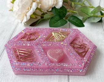 Pink Trinket Tray with Segments, Pink Glitter Trinket Set, Resin Tray