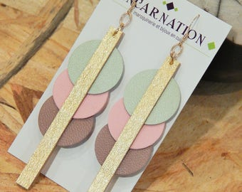 Leather and 14 k gold filled earrings
