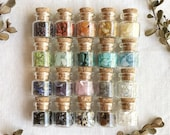 Set of 6-72 Small Crystal Vials, Crystal Chips, Glass Vials, Real Crystals, Apothecary, Witch, Spell, Pagan, Magic, Unique Gift