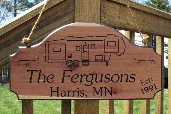 Personalized 5th Wheel RV Camping Sign with Established Date, Established  Date Camping Sign, Custom Carved Family Name Camping Sign