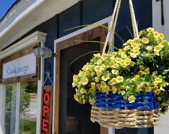 "Handwoven Rope 10"" Hanging Baskets - Assorted colours"