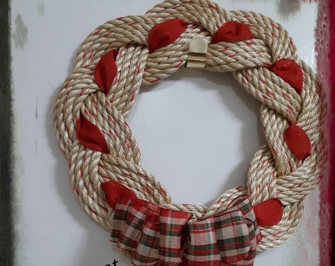Handwoven Turks Knot Rope Wreath with Red Plaid Ribbon (10 byte)