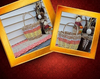 Handwoven High sided Flared Rope Basket Natural and Candy Corn
