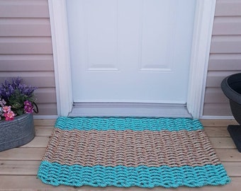 Handwoven Rope Mat - Aqua with Natural Centre