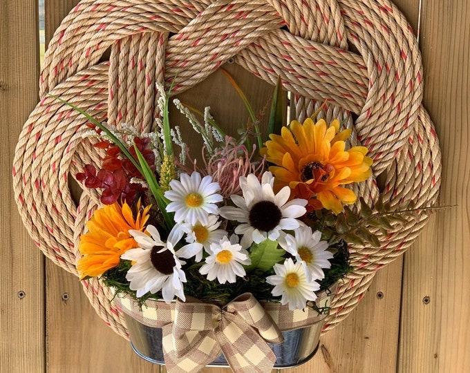 Large Handwoven Turks Knot Wreath- Floral Decor
