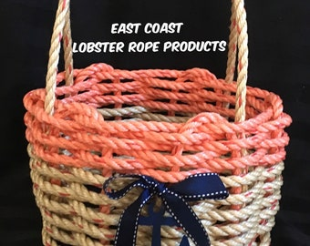 Small Handwoven Rope Basket/ Nautical Decor