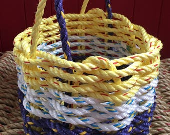 Small  Hand Woven Rope Basket Purple/ White/ Yellow