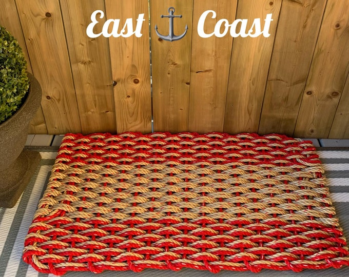 Handwoven Rope Mat- Double Weave Red/ Natural