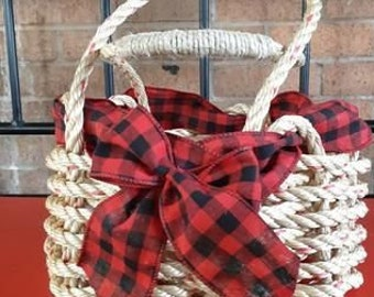 Handwoven Rope Basket - Buffalo Plaid Bow Decor