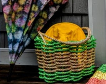 Handwoven Bushel Style Basket with wrapped handles Lime Green and Natural