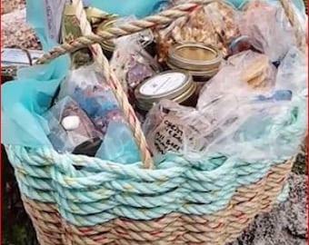Hand Woven  Rope Basket- Aqua and Natural