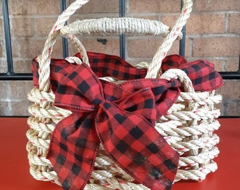Small - Handwoven Rope Baskets with Buffalo Plaid