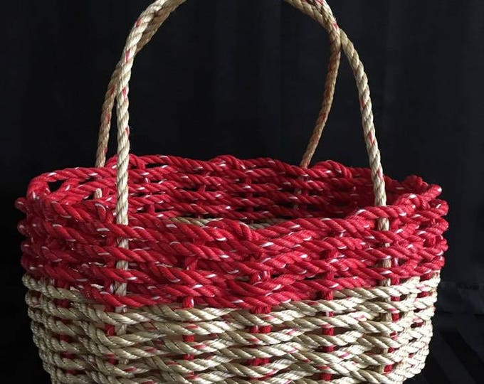 Large - Oval Market Basket - Natural / Red