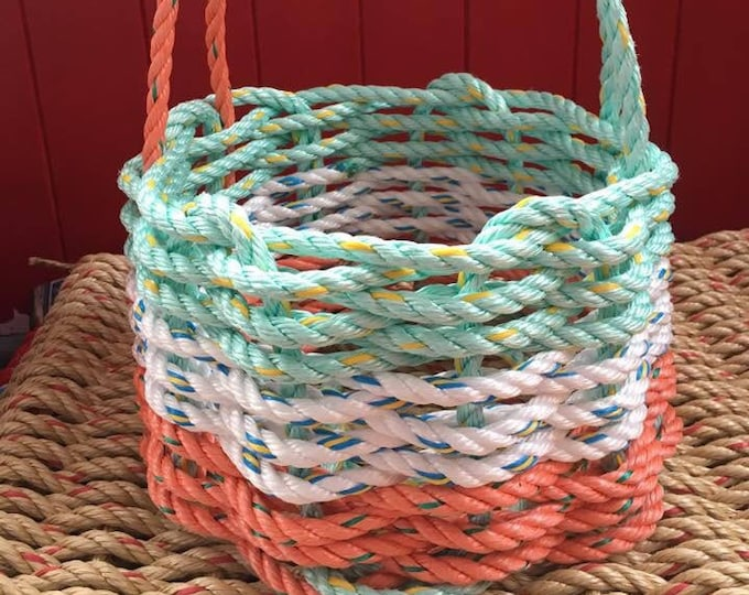 Small Hand Woven Rope Basket Coral/ White/ Aqua