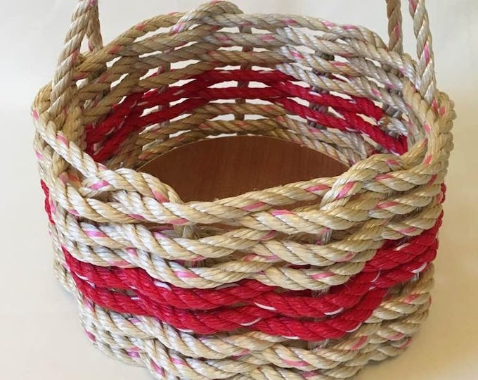 Small  Hand Woven Rope Basket Natural/ Red with side handles