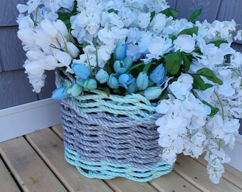 Handwoven Flared Basket - Aqua and Grey