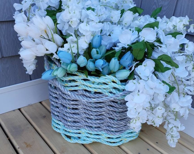 Handwoven Flared Basket Aqua and Grey