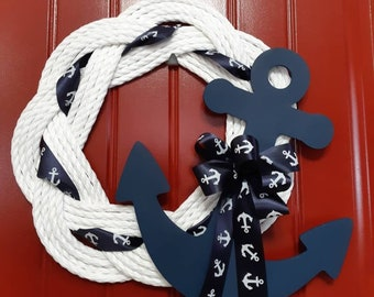 Handwoven Turks Knot Wreath with Anchor (7 Byte)