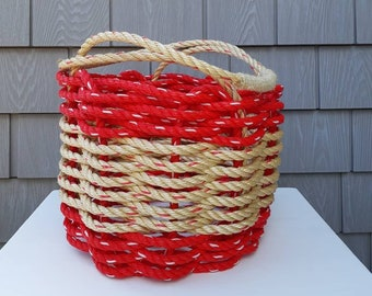 Handwoven Bushel Style Basket with handles Red and Natural