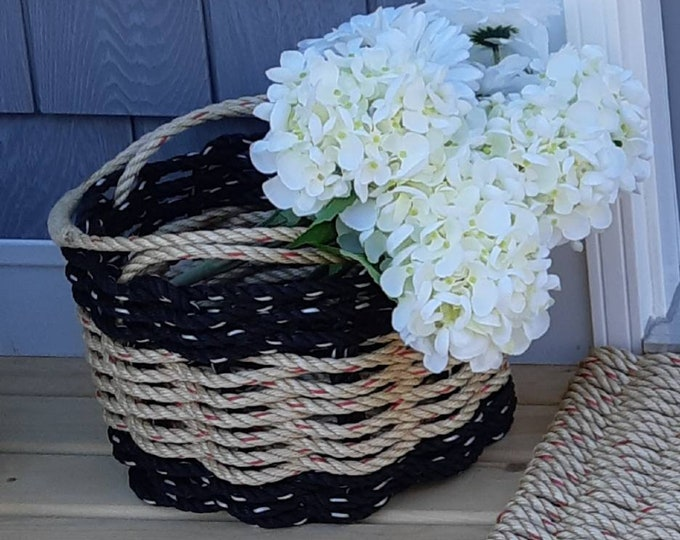Handwoven Bushel Style  Basket with wrapped handles Black and Natural