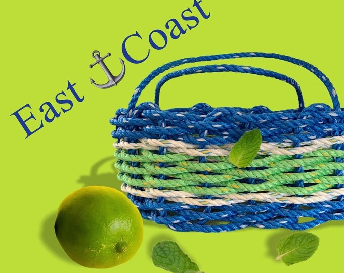Handwoven Rope Market Basket Large- Dark Blue/ Lime and White