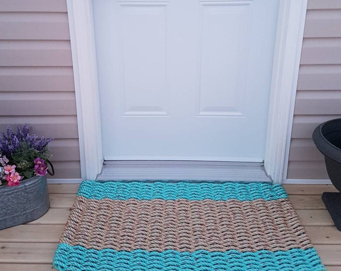 Handwoven Rope Mat - Aqua / Wide Natural Center