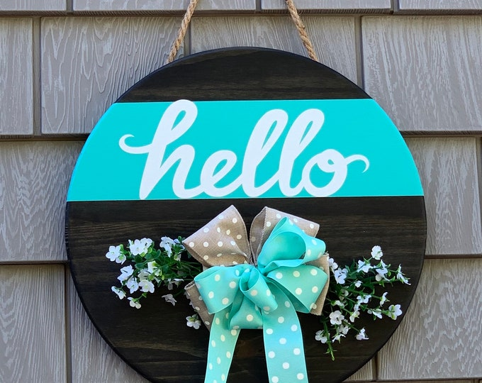 Wooden Door /Wall Hanger -Hello