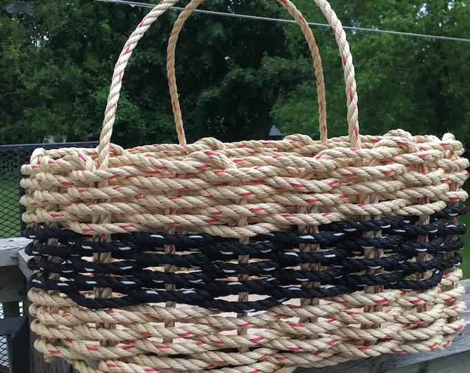 Large Oval Market Basket Natural / Black