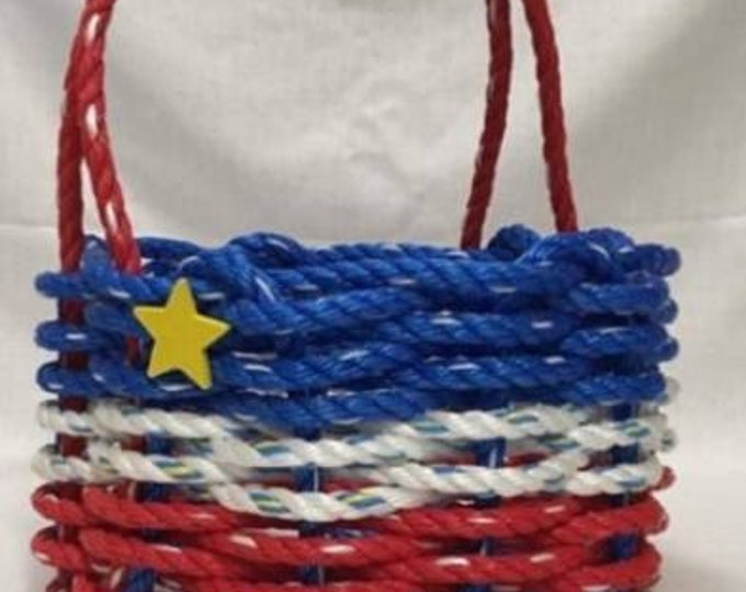 Small Hand Woven Acadian Rope Basket Red/ White/ Blue with Yellow Star