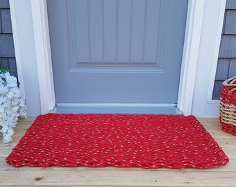 Handwoven Rope Mat - Red