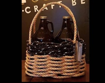 Small - Oval Growler Basket - Natural /Black