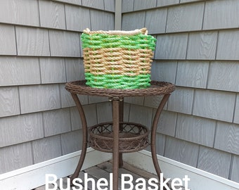 Handwoven Bushel Basket Lime and Natural
