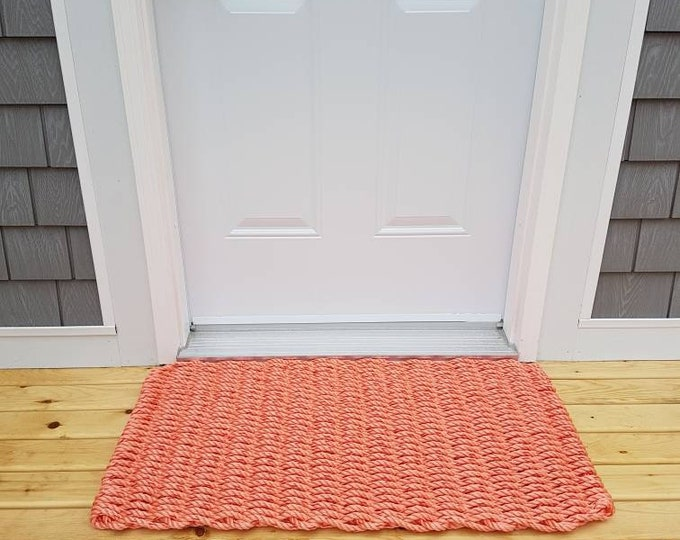 Handwoven Rope Mat - Coral