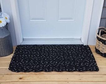 Black Hand Woven Rope Mat