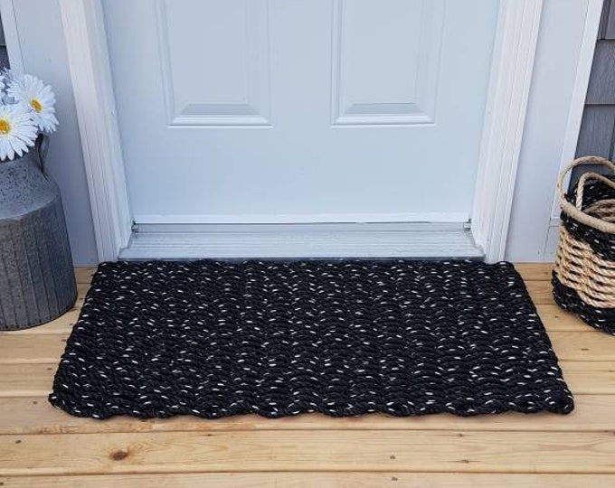 Black Hand Woven Rope Mat