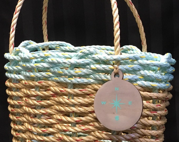 Handwoven Highsided Rope Basket Natural/ Aqua