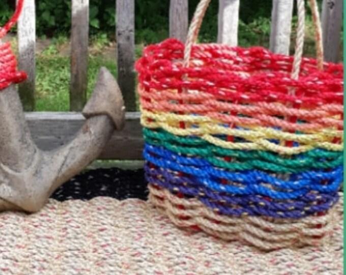 Handwoven Highsided Flair Rainbow Basket