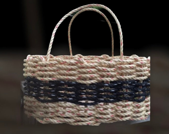 Hand Woven - Oval Market Basket - Natural and Black