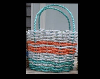 Handwoven High-sided Rope Basket - Aqua / White / Coral