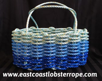 Large - Oval Market Basket - Dark Blue / Ocean Blue / Aqua