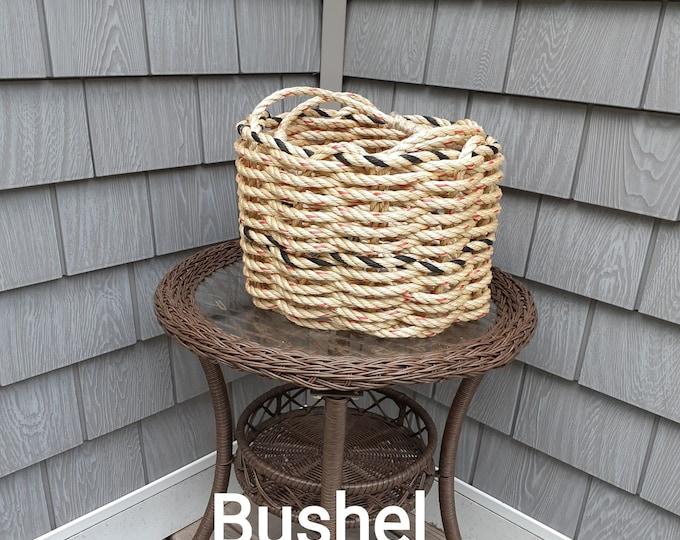 Handwoven Rope Bushel Style Basket Natural and Black Fleck