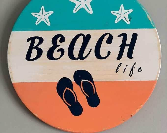 Wooden Door/ Wall Hanger - Beach Life