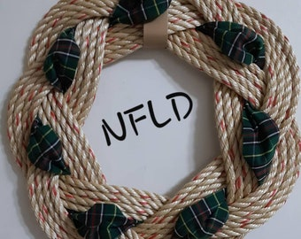 Handwoven Turks Knot Wreath -  NFLD Tartan - 7 Byte