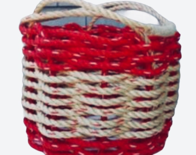 Handwoven Bushel Style Basket with handles - Red and Natural