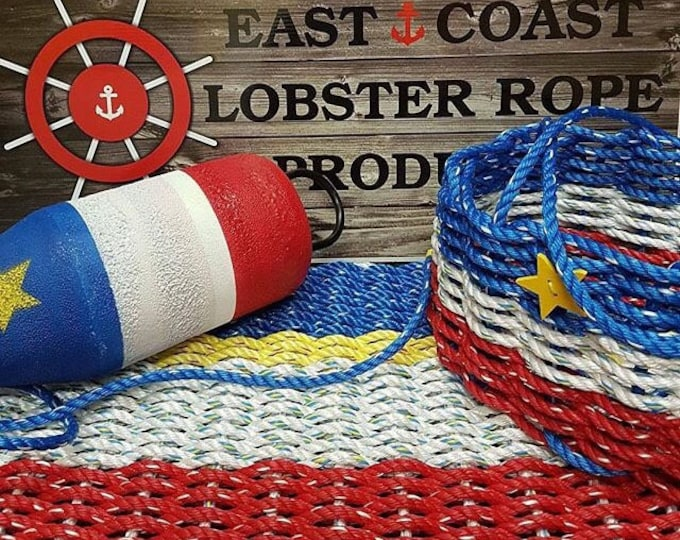 Handwoven Rope Mat *Acadian* - Red / White / Yellow / Blue