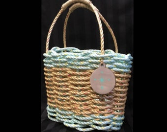 Handwoven Highsided Rope Basket - Natural / Aqua