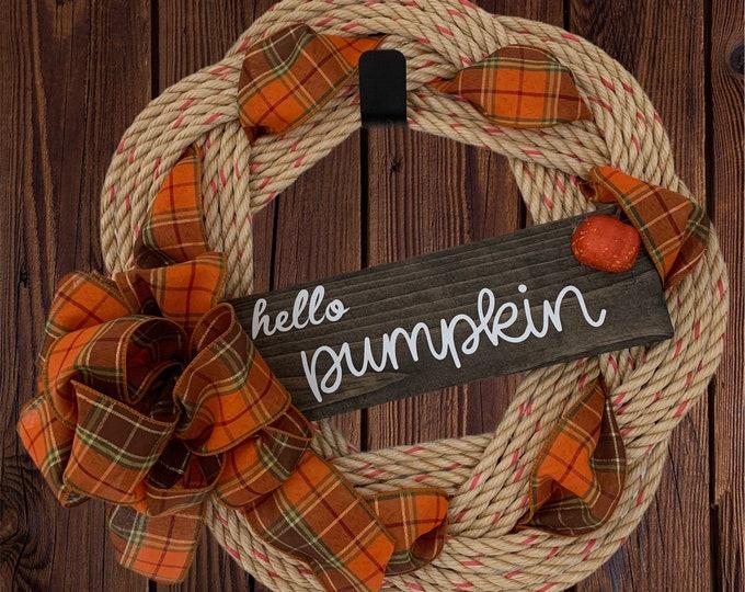 Handwoven Rope Wreath - Hello Pumpkin