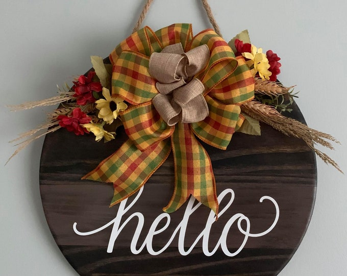 Wooden Door/ Wall Hanger - Hello