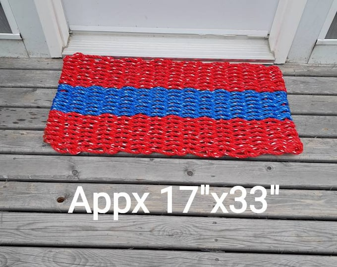 SALE Handwoven Rope Mat Red/Blue