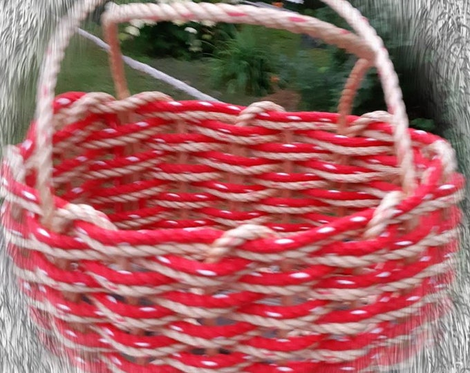 Handwoven Rope Market Basket Natural/ Red Double Weave